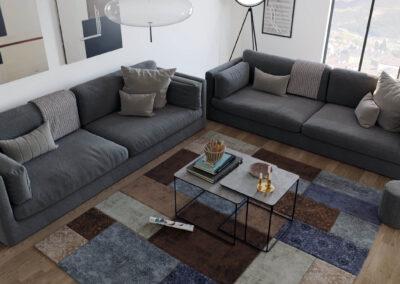rendering fotorealistico di interni di un appartamento a gubbio in provincia di perugia